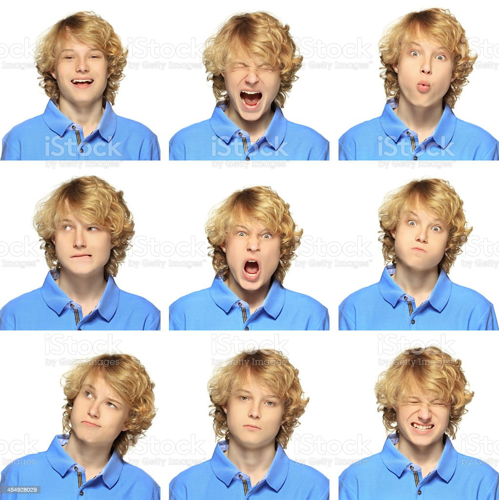 Teenage boy with curly blond hair expression collection on white stock photo