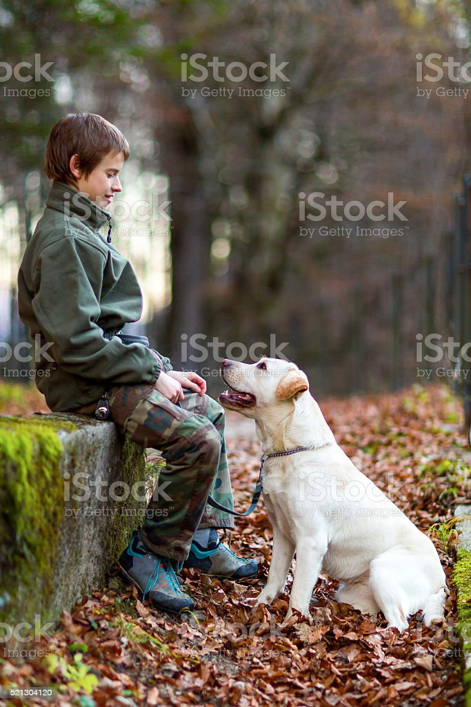 Teenage boy with his dog stock photo