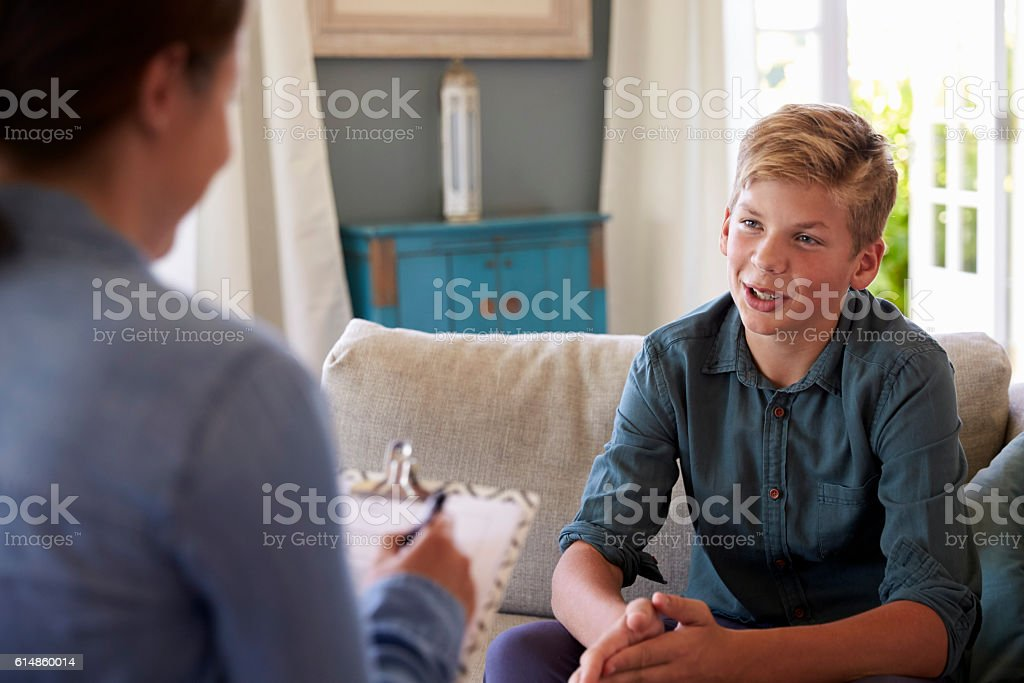 Teenage Boy With Problem Talking With Counselor At Home stock photo