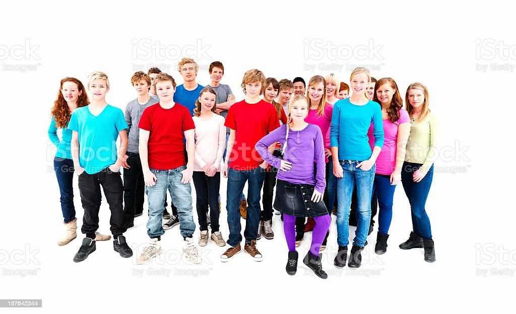 teenage boys and girls playing tug of war royalty-free stock photo