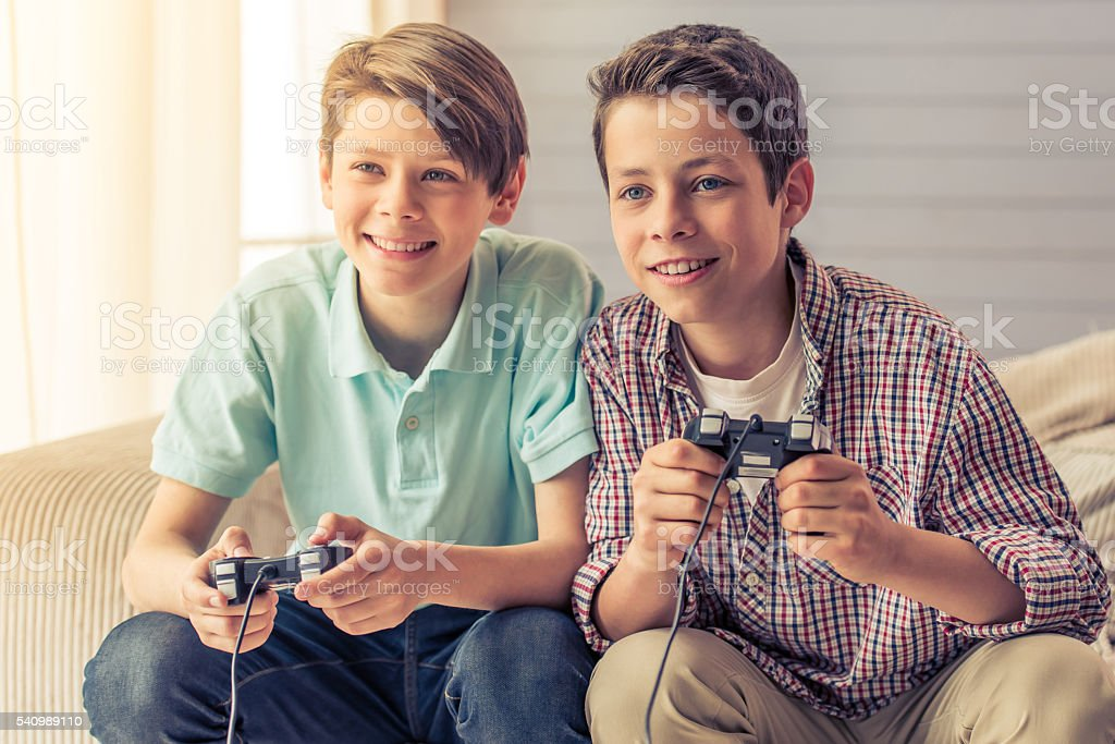 Teenage boys at home stock photo