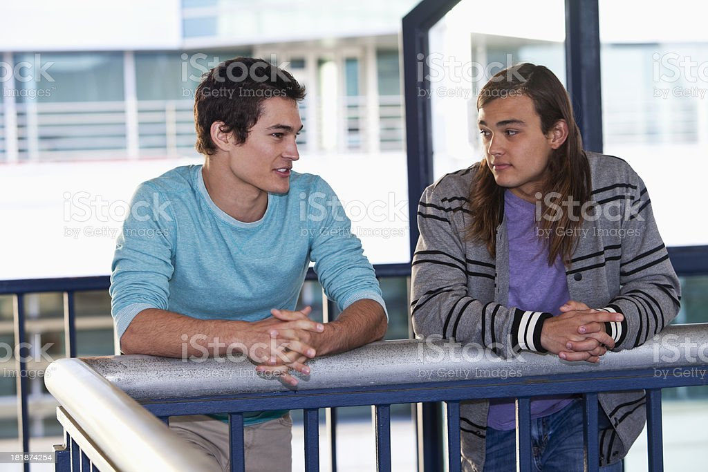 Teenage boys hanging out stock photo