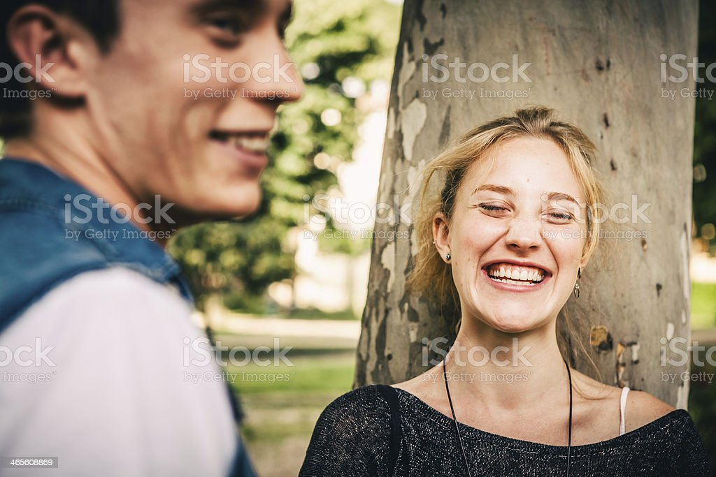 Teenage Couple Having Fun at the Park royalty-free stock photo