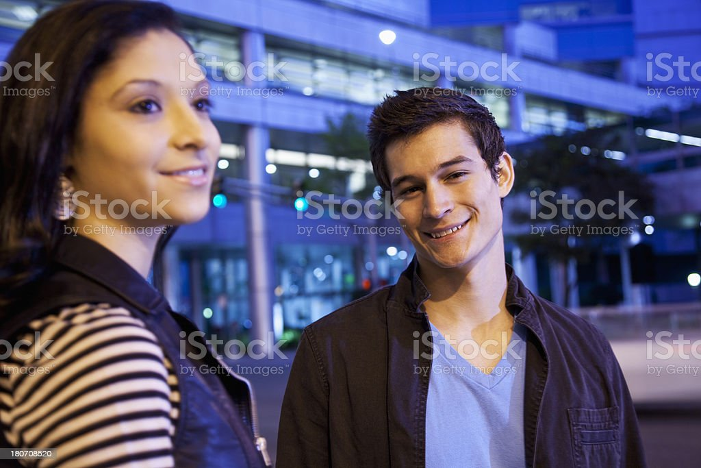 Teenage couple in city royalty-free stock photo