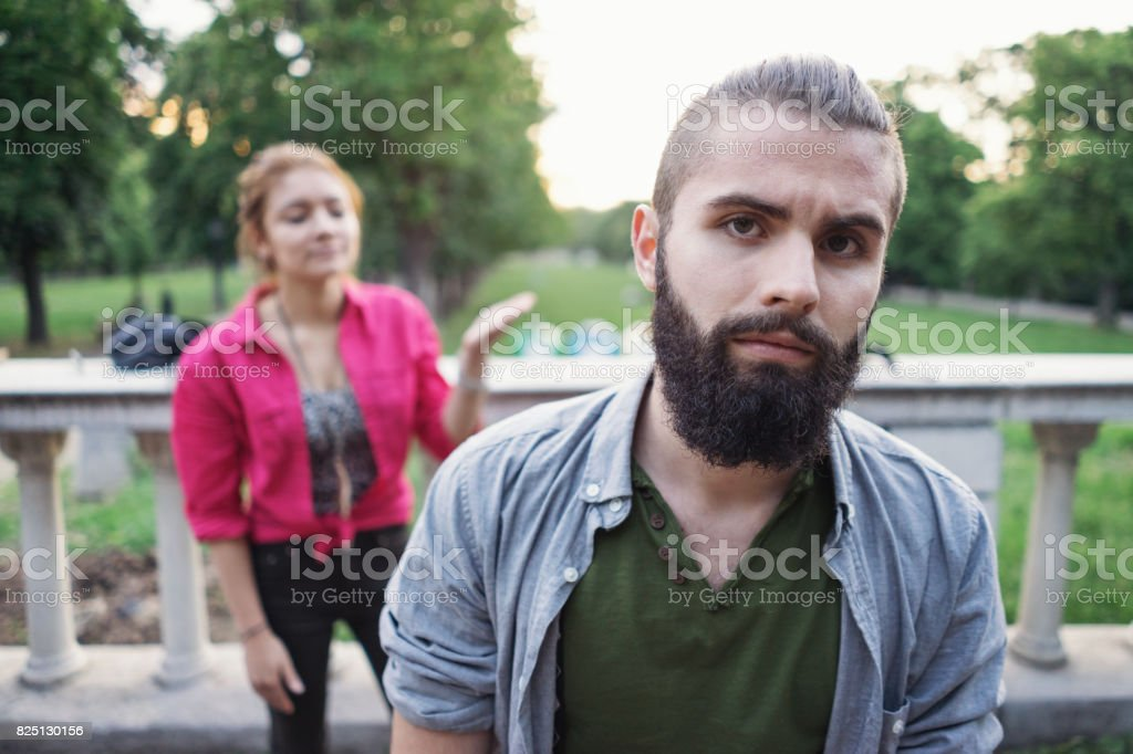 Teenage couple in dispute stock photo