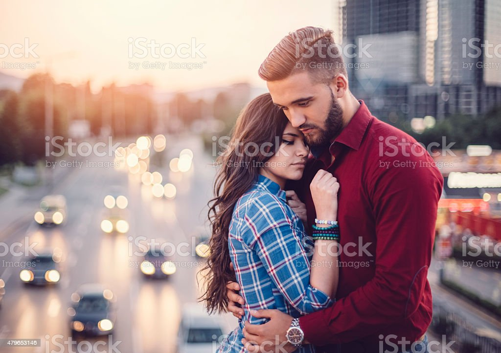 Teenage couple in the city stock photo
