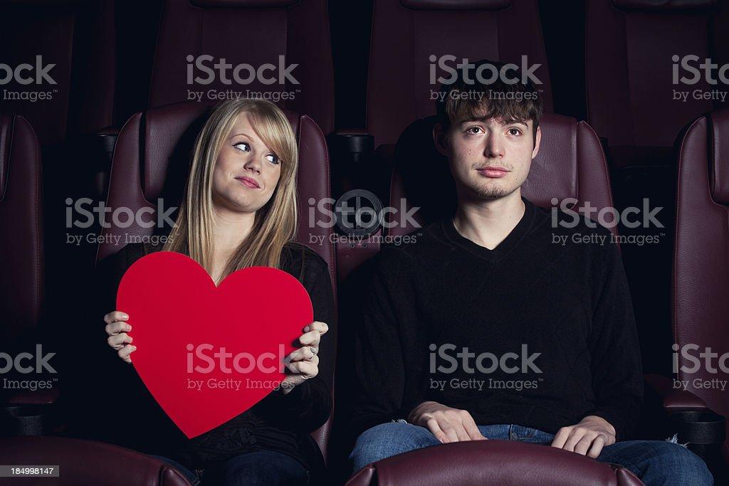 Teenage Crush at the Movies royalty-free stock photo
