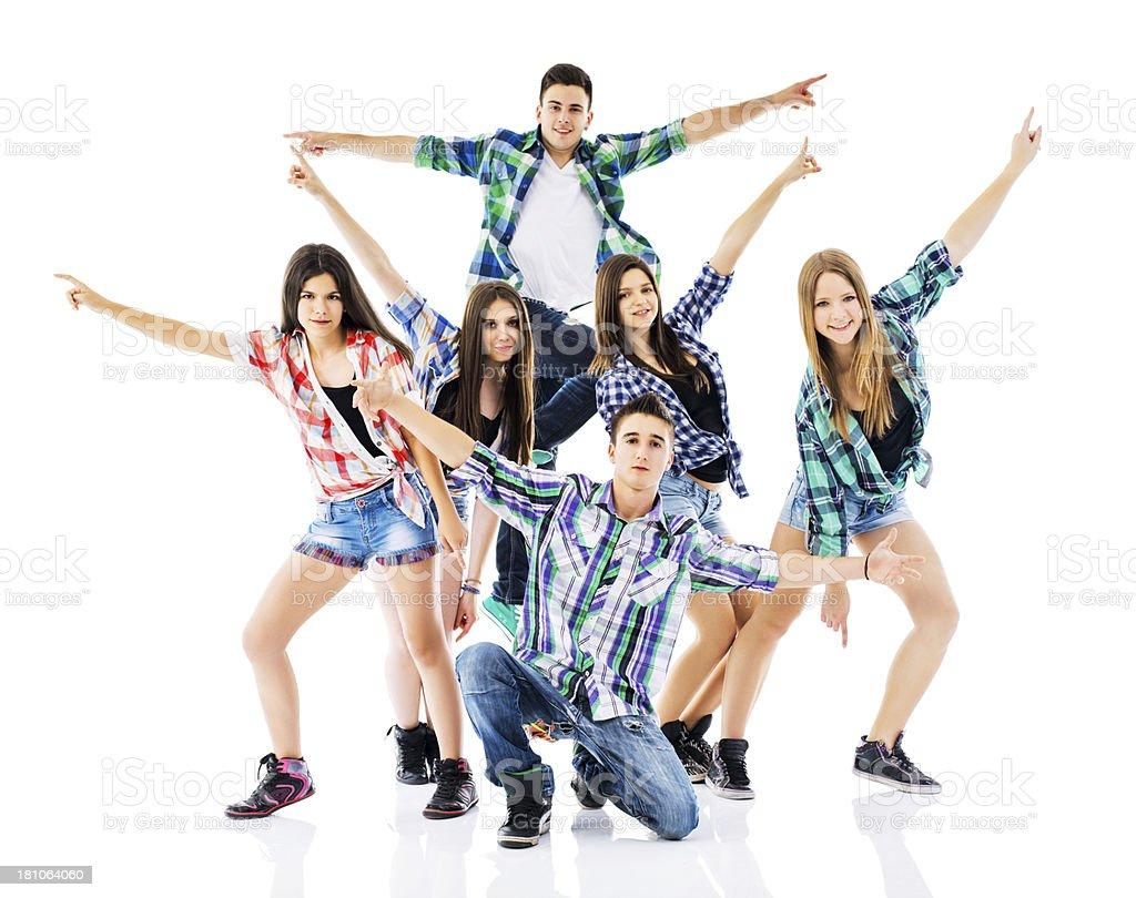 Teenage dance group. stock photo