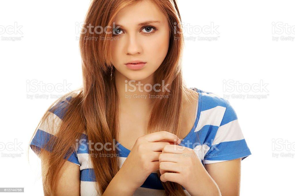 Teenage depression woman sitting on the floor stock photo