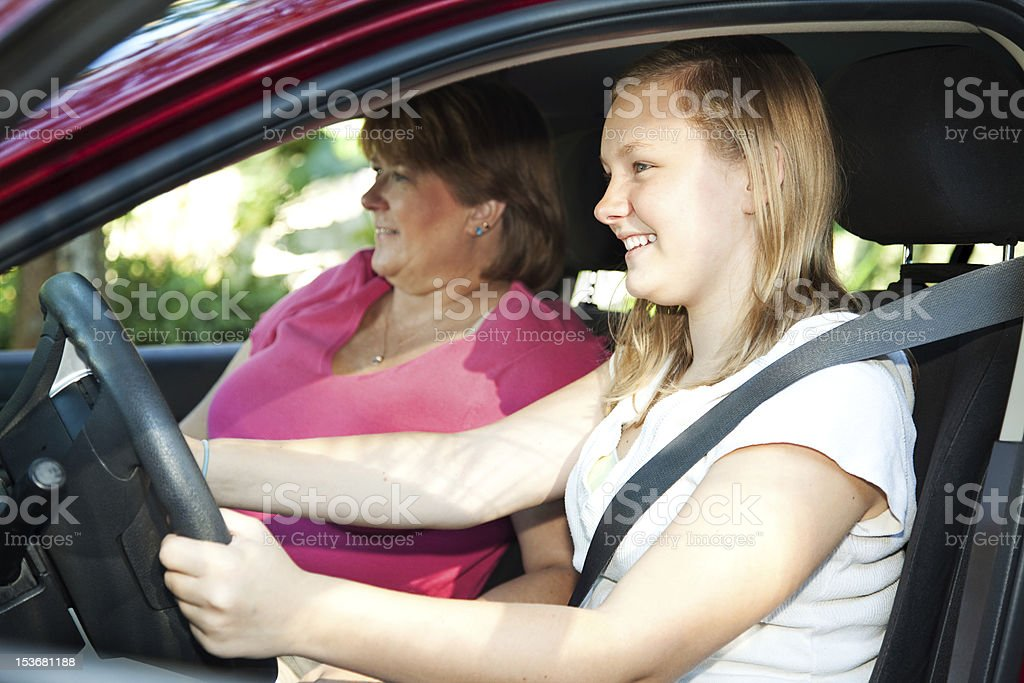 Teenage Driving Lesson royalty-free stock photo
