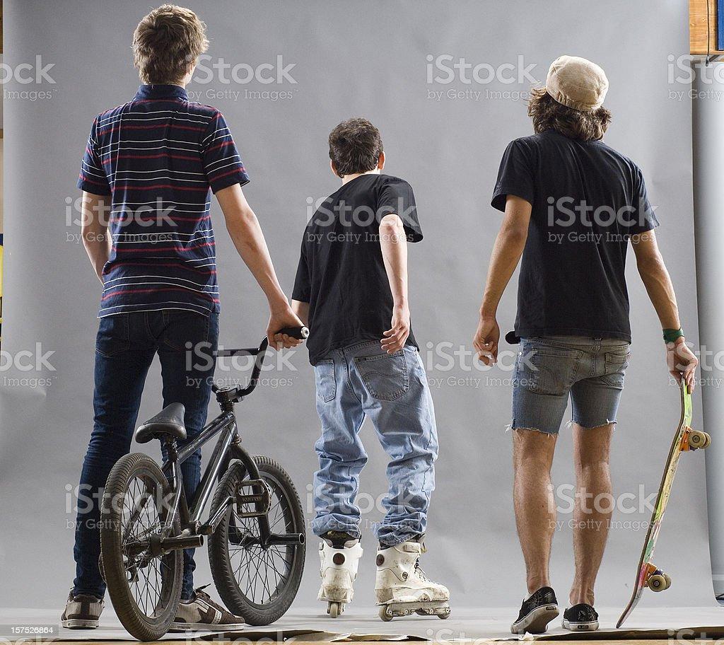 Teenage extreme sportsmens. stock photo