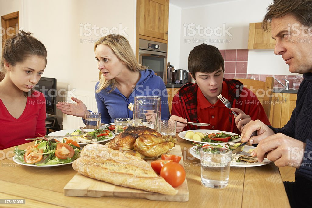 Teenage Family Having Argument Whilst Eating Lunch Together In Kitchen royalty-free stock photo