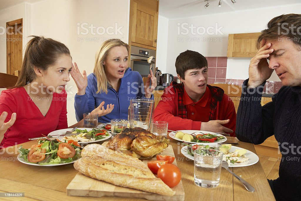 Teenage Family Having Argument Whilst Eating Lunch Together In Kitchen stock photo