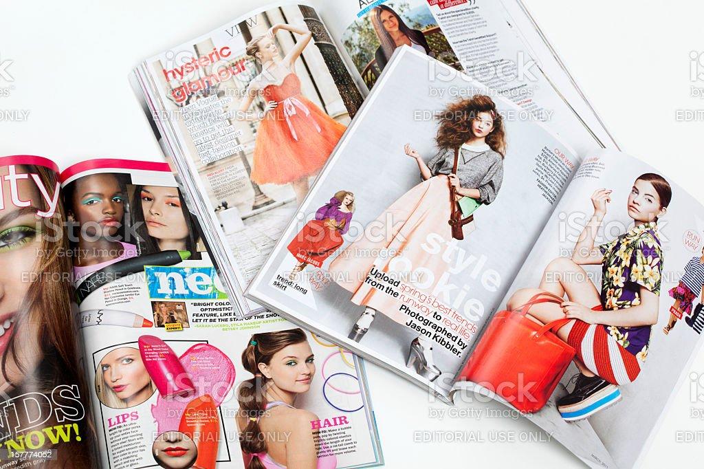 Teenage fashion magazines stock photo