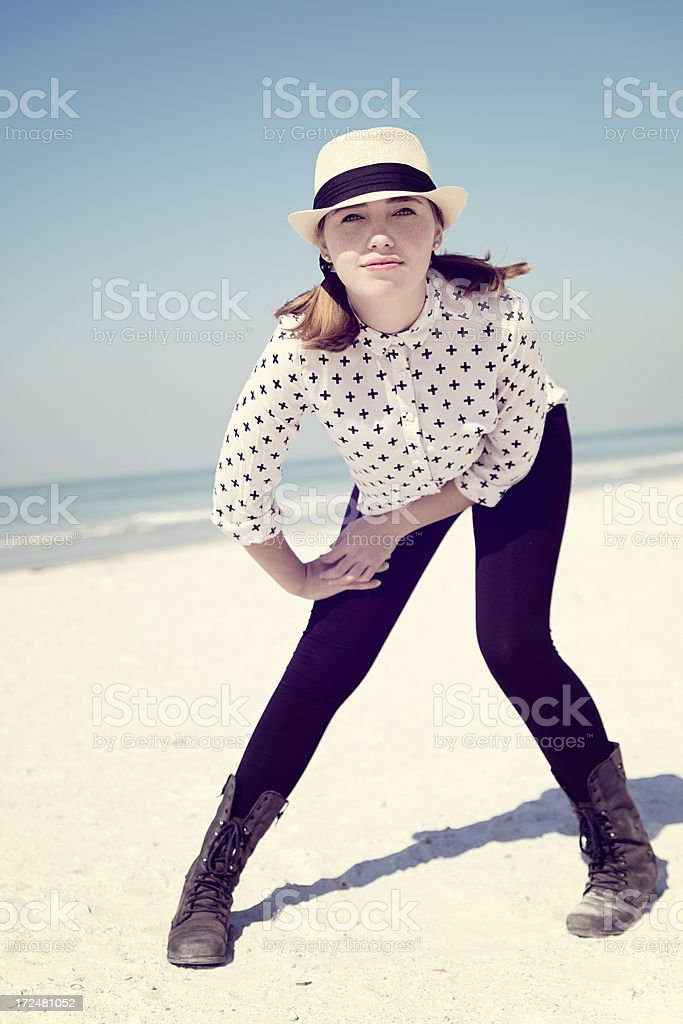Teenage fashion on the beach, vertical. royalty-free stock photo