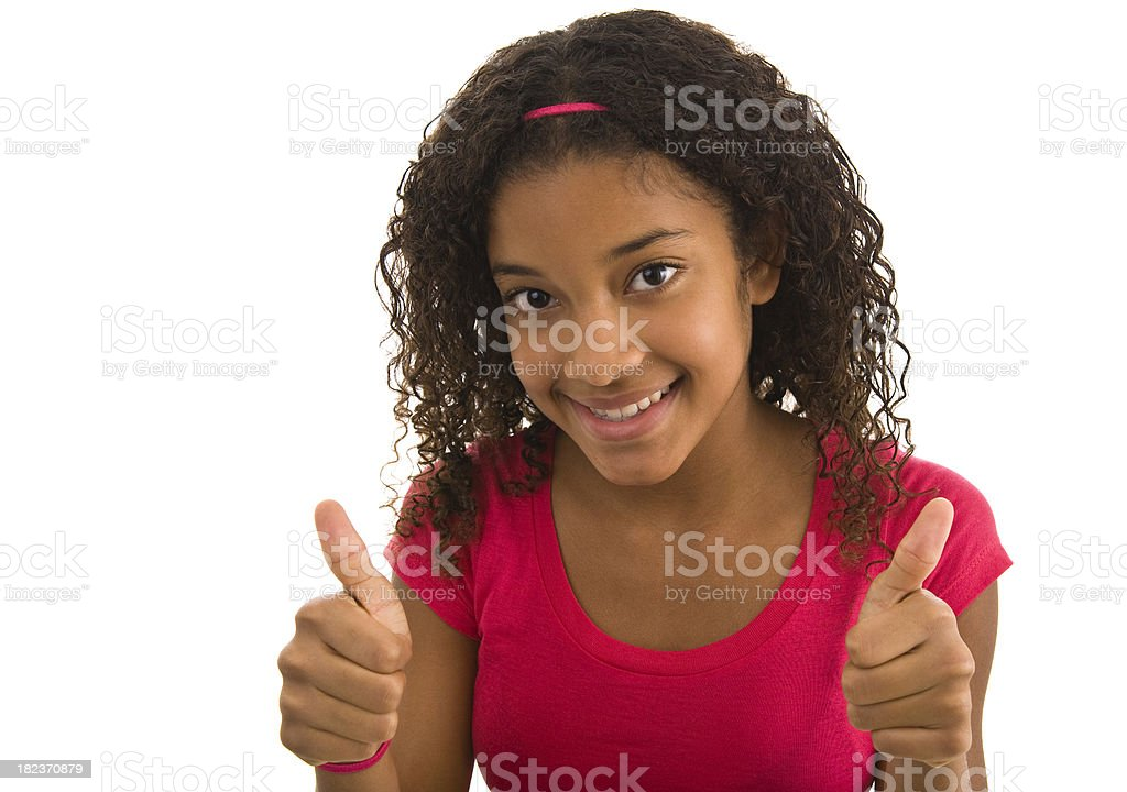 Teenage female giving the thumbs up with both hands royalty-free stock photo