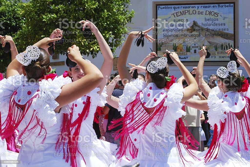 Teenage flamenco dancers, Marbella, Spain. stock photo