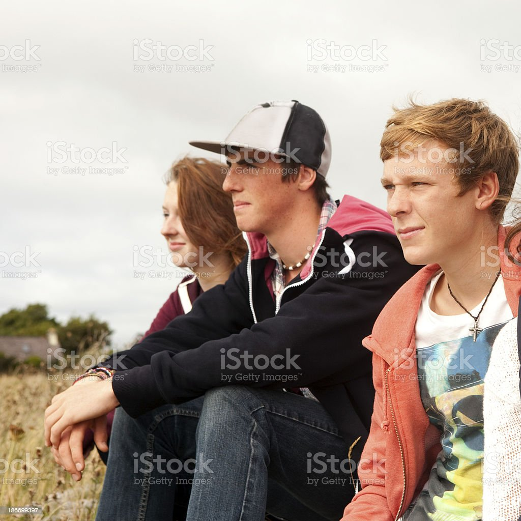 Teenage friends hanging out royalty-free stock photo