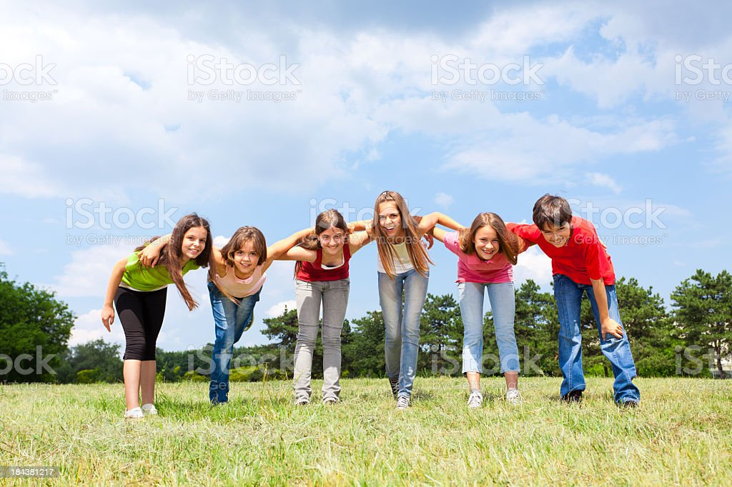 Teenage Friends Outdoors stock photo