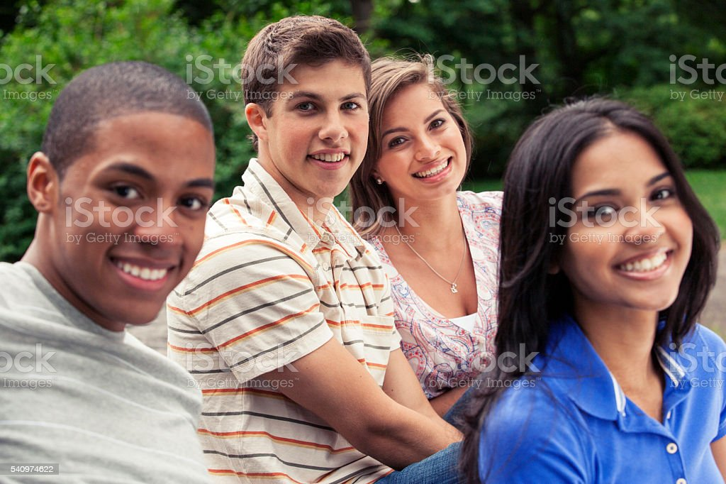 Teenage friends spending time together stock photo