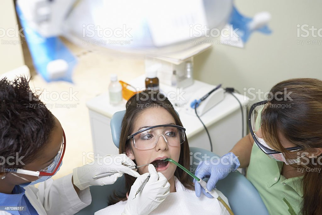 Teenage Girl at Dentist's Office stock photo