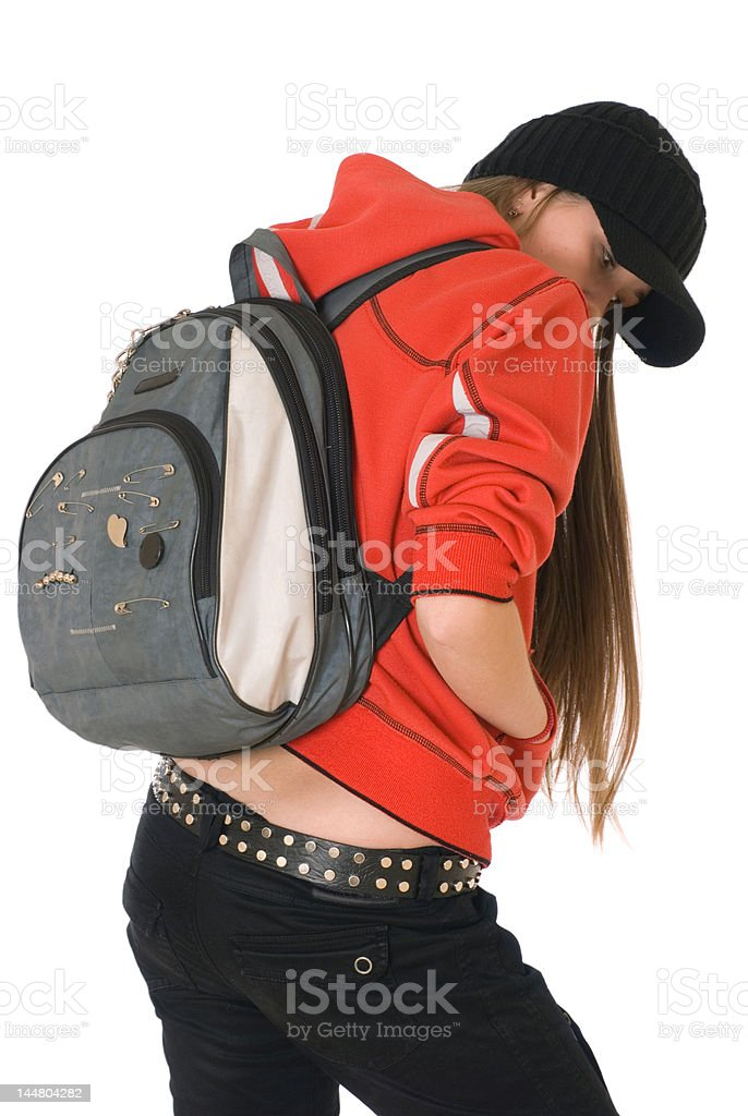 teenage girl, backpack on the back royalty-free stock photo