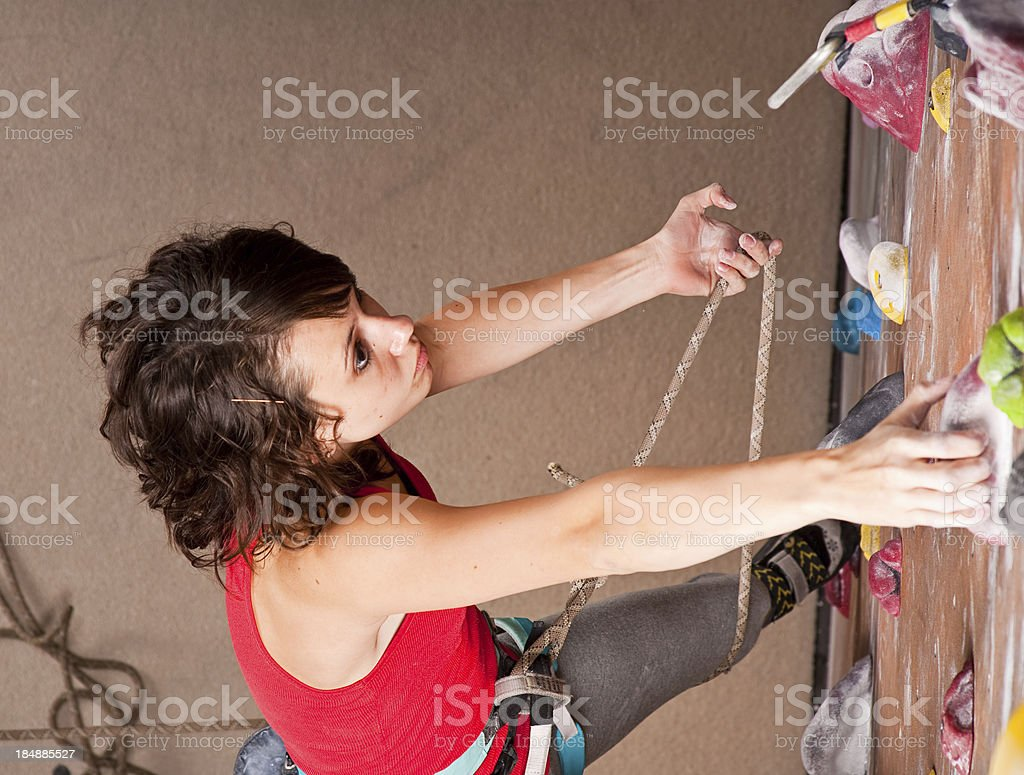 Teenage Girl Climbing stock photo