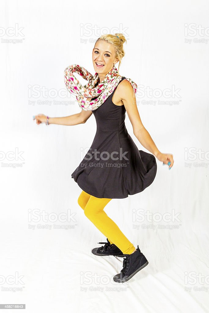 Teenage girl dancing the twist stock photo