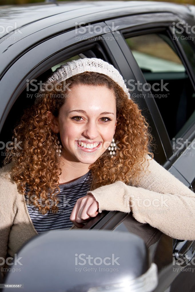 Teenage girl driving car royalty-free stock photo