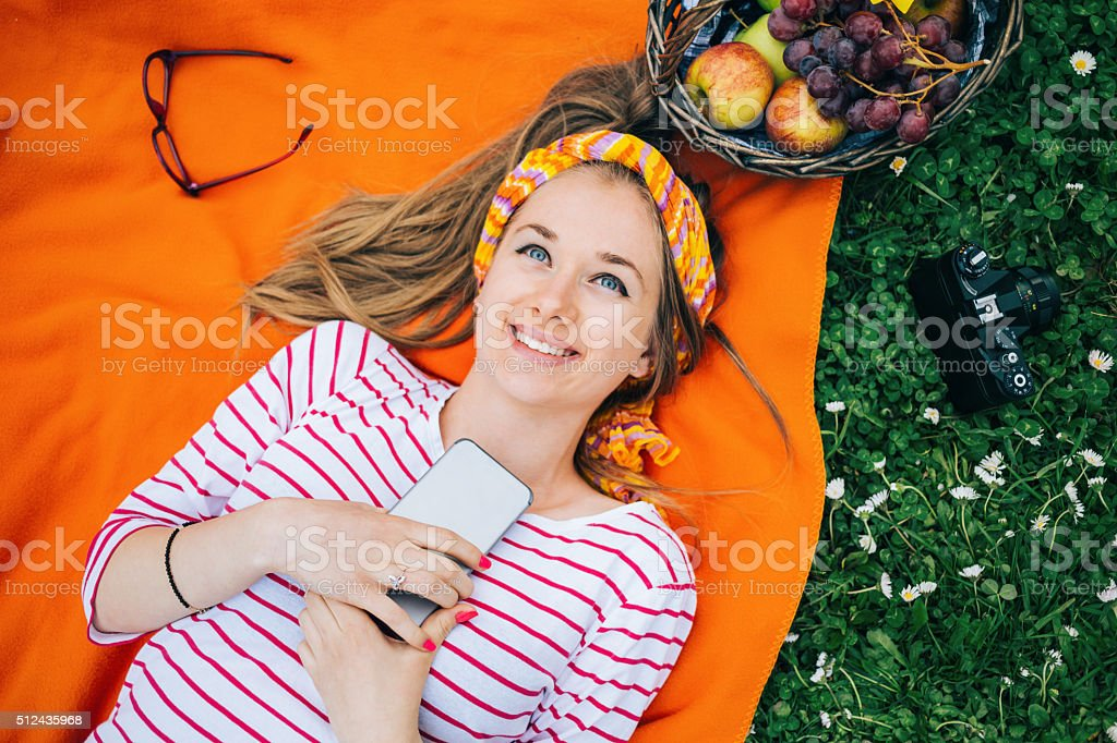 Teenage girl enjoying her free time in the nature stock photo