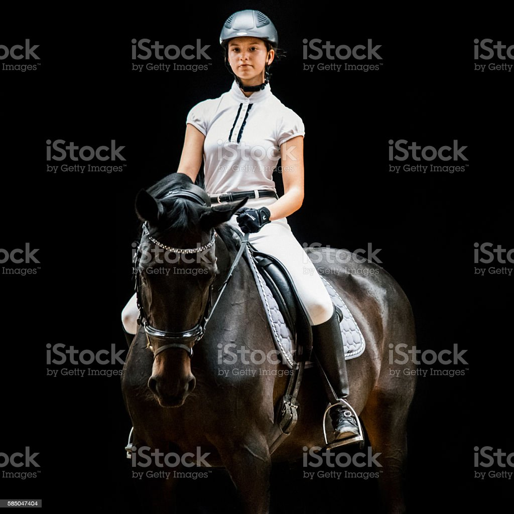 Teenage Girl Equestrian Horseback Riding Portrait stock photo