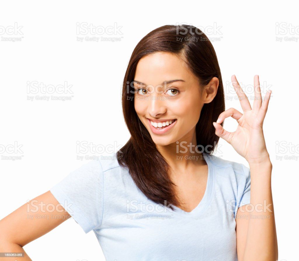 Teenage Girl Gesturing an Okay Sign - Isolated royalty-free stock photo