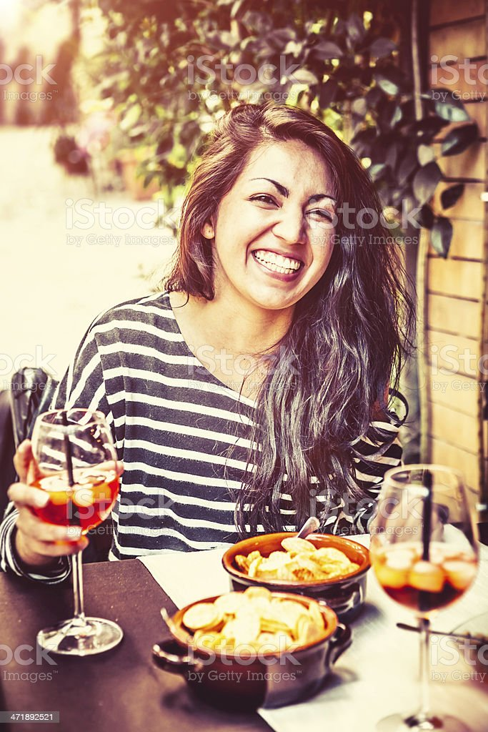 Teenage Girl Having Fun with Alcoholic Drink royalty-free stock photo