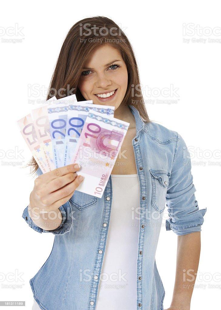 Teenage girl holding 150 Euro royalty-free stock photo