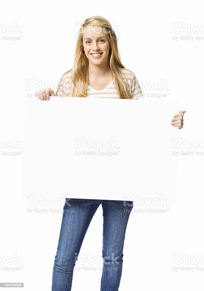 Teenage Girl Holding a Blank Sign  - Isolated royalty-free stock photo