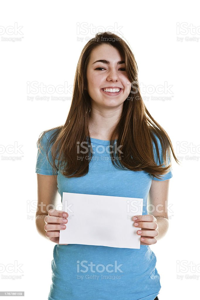 Teenage girl holding paper royalty-free stock photo