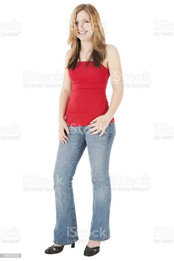 Teenage Girl in Blue Jeans and Red Tube Top royalty-free stock photo