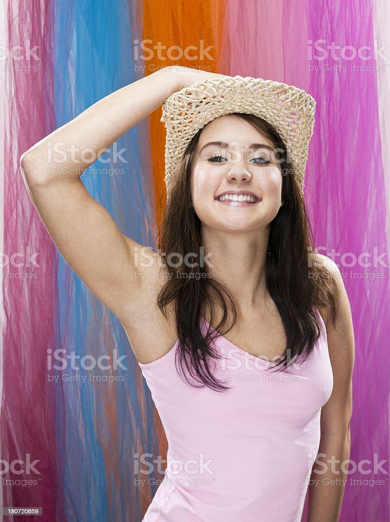 Teenage Girl in Cowboy Hat royalty-free stock photo