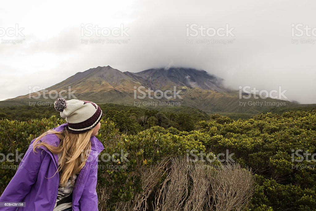 Teenage girl in Egmont National Park stock photo