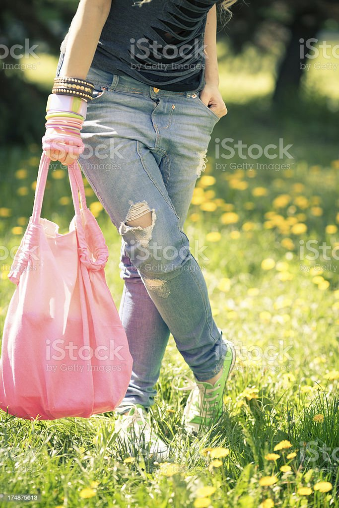 Teenage girl in park royalty-free stock photo