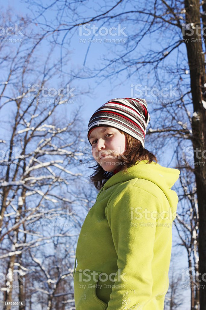 Teenage girl in Park winter royalty-free stock photo