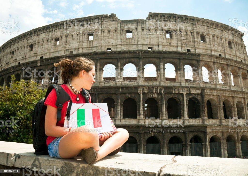 Teenage girl in Rome royalty-free stock photo