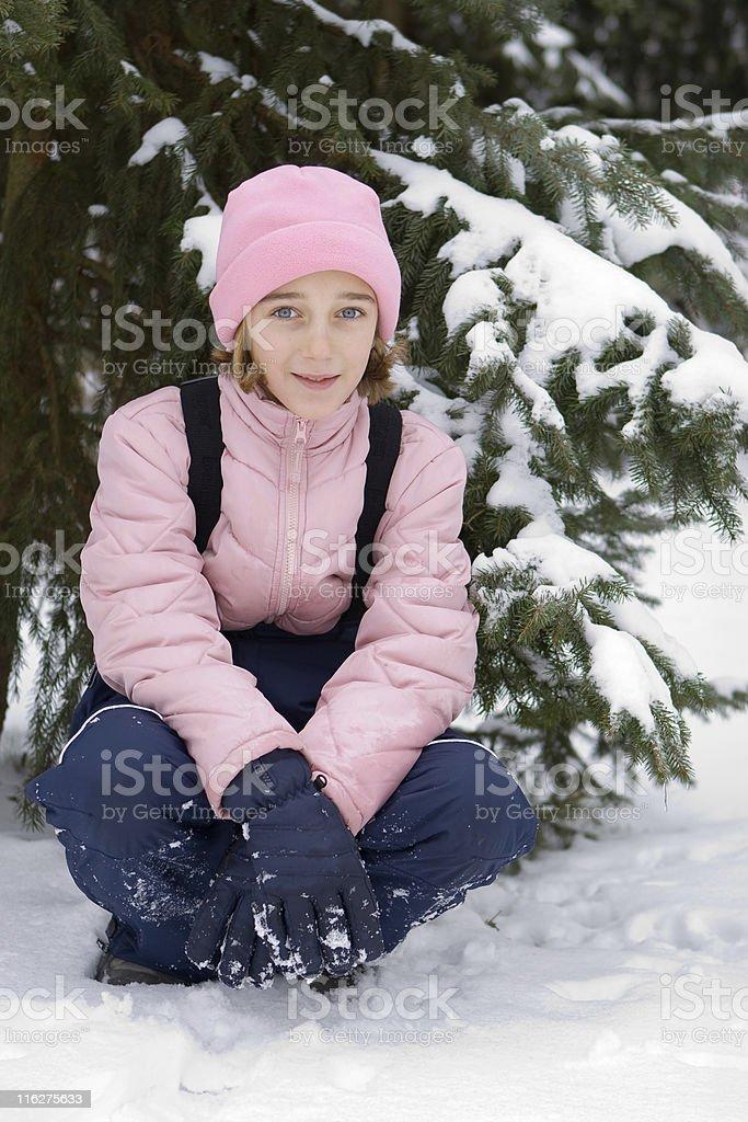 Teenage girl in snow royalty-free stock photo