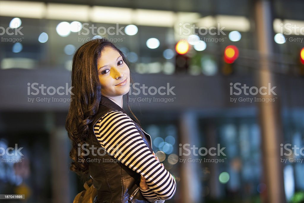 Teenage girl in the city stock photo