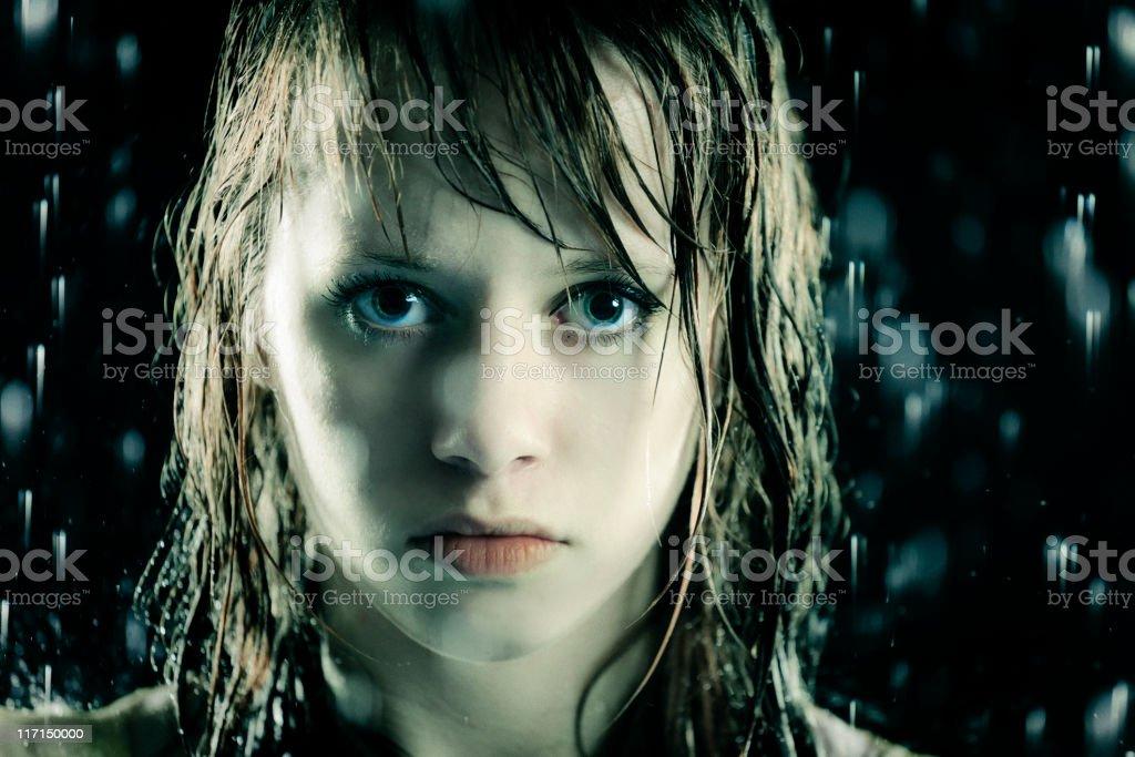 Teenage Girl in the Rain stock photo