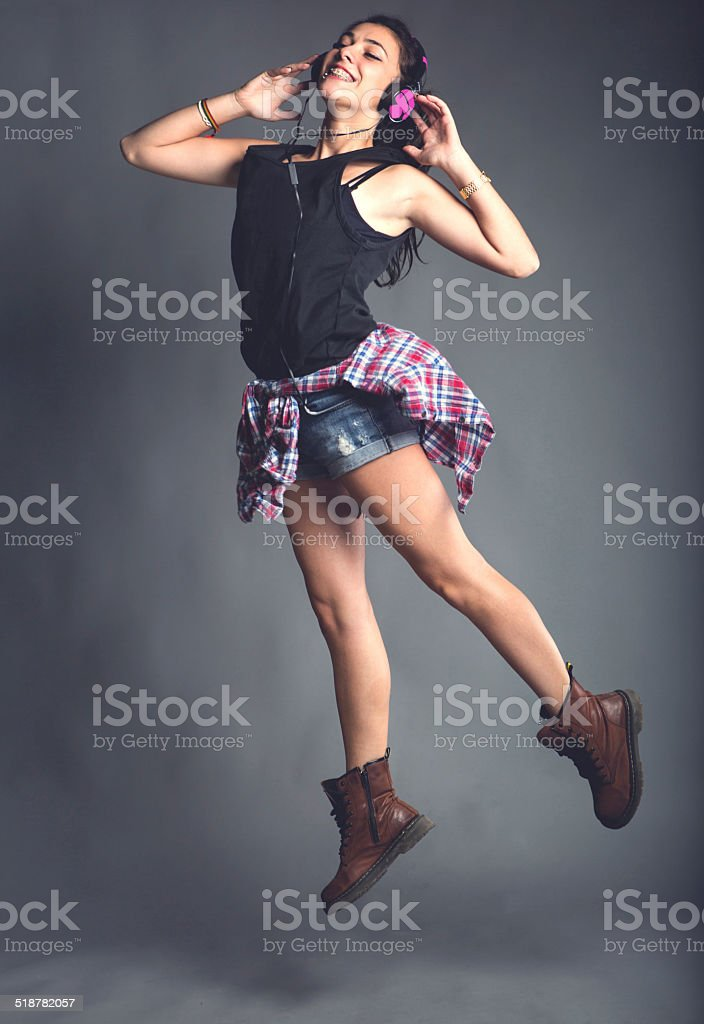 Teenage Girl Jumping stock photo