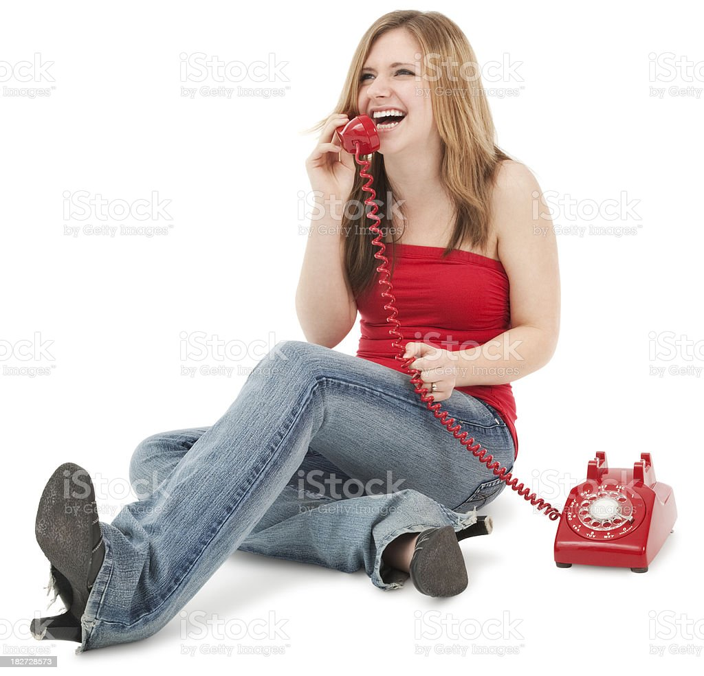 Teenage Girl Laughing on The Phone royalty-free stock photo