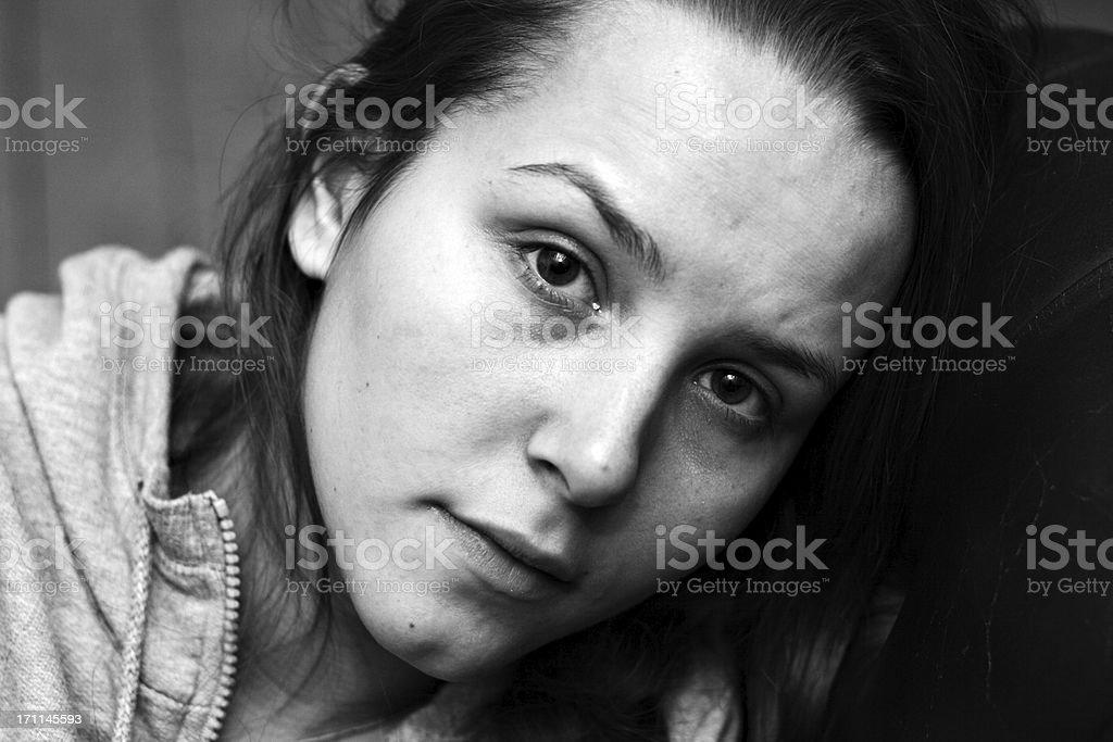 Teenage girl looking depressed royalty-free stock photo
