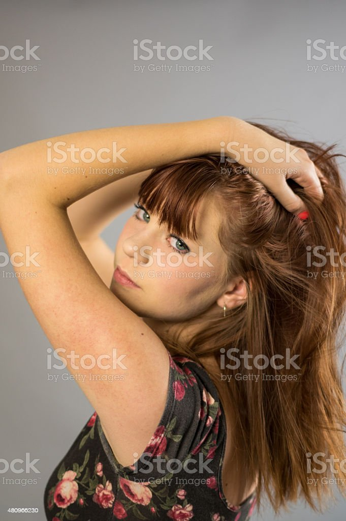 Teenage Girl looking over her shoulder royalty-free stock photo