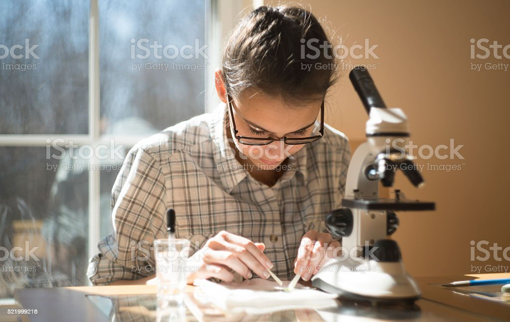 Teenage girl make homework scientific project with microscope stock photo